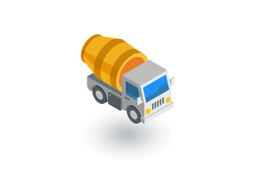Concrete mixing truck isometric flat icon. 3d vector colorful illustration. Pictogram isolated on white background