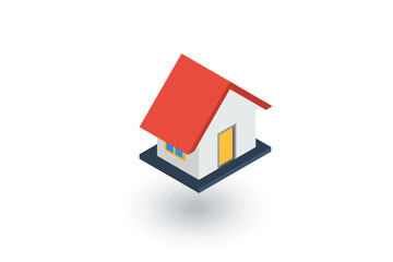House isometric flat icon. 3d vector colorful illustration. Pictogram isolated on white background