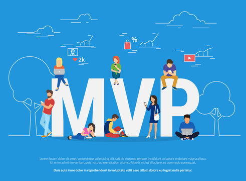 MVP vector illustration of business people using devices for buying new apps and digital goods. Flat concept design of minimum viable product and features analysis and research