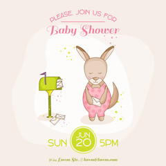 Baby Girl Kangaroo with Mail - Baby Shower or Arrival Card - in vector