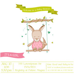 Baby Shower or Arrival Card - Baby Girl Kangaroo - in vector