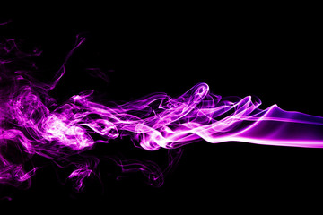 Wall Mural - Purple smoke on a black background