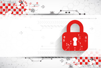 Red protection background. Technology security, encode and decrypt, techno scheme, vector illustration