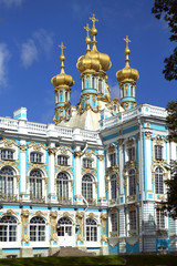 Golden onion domes on the Catherine's Palace, The State Hermitage Museum (Winter Palace), Tsarskoye Selo (Pushkin), south of St. Petersburg, Russian Federation