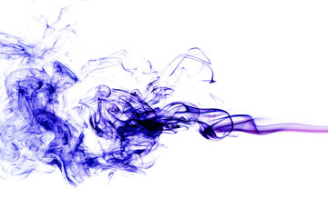 Wall Mural - blue smoke on white background