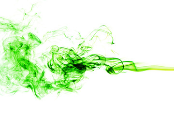 Fototapete - Abstract green smoke on white background, smoke background,green ink background,green, beautiful color smoke