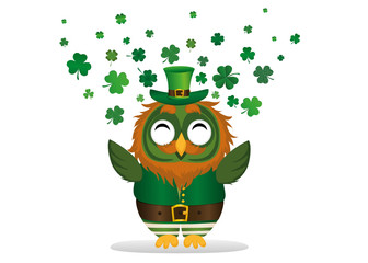 happy owl with a beard in a suit and hat on St. Patrick's day smiles and throws a lot of clover of the three-leafed wings. Greeting card or invitation.