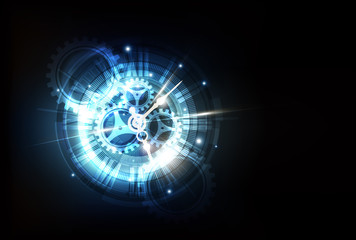 Abstract Futuristic Technology Background with Clock concept and Time Machine, vector