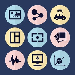 Set of 9 square filled icons