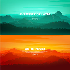 Canvas Prints Green coral Mountains and forest. Wild nature landscape. Travel and adventure.Panorama. Into the woods. Horizon line.Trees,fog,wood.Backgrounds se