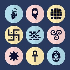 Set of 9 decoration filled icons