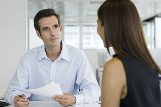 Businessman conducting job interview