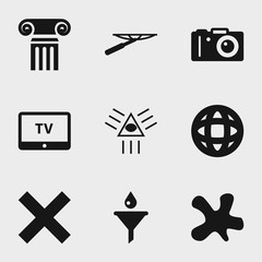 Set of 9 black filled icons