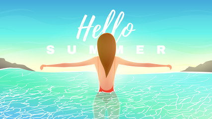 Hello summer web banner with beautiful girl. Sunshine background with sea landscape and woman in swimsuit in water. Vector illustration. Vacation backdrop.