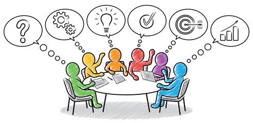 Farbige Strichmännchen: Gemeinsames Lösungskonzept am runden Tisch