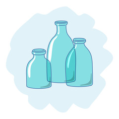 Three empty glass bottles, drawn in a cartoon style. Vector illustration.