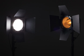 Equipment for photo studios and fashion photography. Model and impulse light. Different color temperature