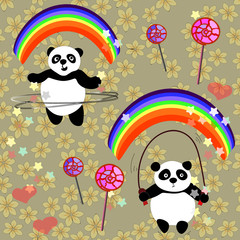 Raster illustration wuth little big panda cartoon character losing her weight with physical jerks under the rainbow in early morning; jumping cute pandas on spring flowers background