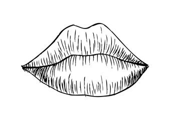 Woman lip mouth kiss. Doodle style.