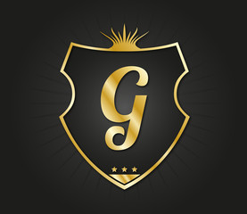 G Letter gold shield