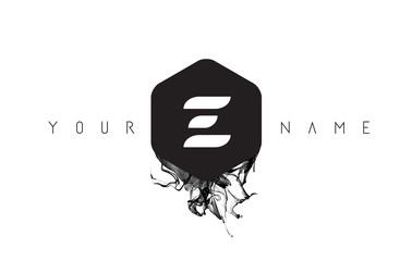 E Letter Logo Design with Black Ink Spill