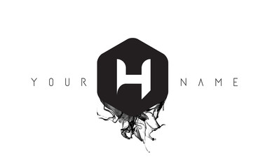 H Letter Logo Design with Black Ink Spill