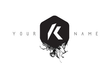 K Letter Logo Design with Black Ink Spill