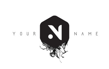 N Letter Logo Design with Black Ink Spill