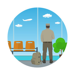 Man in Uniform Looking out the Window in a Waiting Room, Icon Waiting Hall with a Man, Flat Design, Vector Illustration