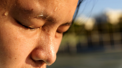 closeup  sweating on face of asian women . Concept healty and Exercise