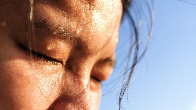 Close up  sweating on face of young asian women