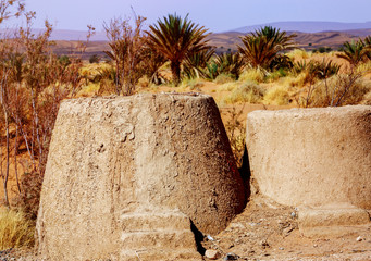 traditional mud and stone oven in sahara desert