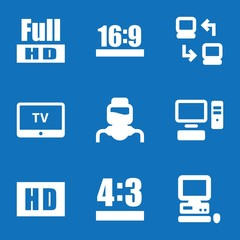 Set of 9 monitor filled icons