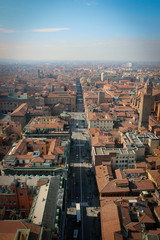 Panoramic view of historic center of Bologna, Italy