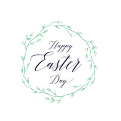 Happy Easter Day Lettering in Wreath