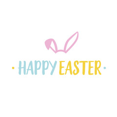 Happy Easter Lettering and Rabbit Ears