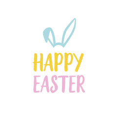 Happy Easter Lettering With Rabbit Ears