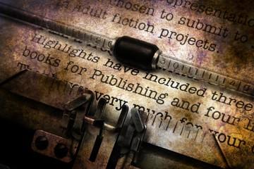 Publishing letter on vintage typewriter