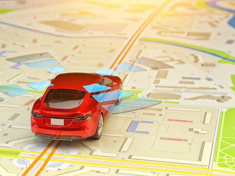Driver assistance system, self-driving vehicle, autopilot and driverless technology concept, autonomous car driving on road at paper city map