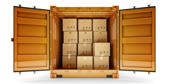 Freight transportation, package shipment, shipping and delivery concept, front view of open cargo container full of cardboard boxes isolated on white background