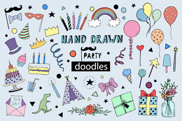 Kids party doodles with design elements