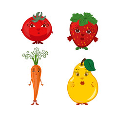 A set of funny berries and fruits and vegetables of girls, with faces