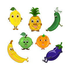 A set of funny fruits and vegetables with muzzles