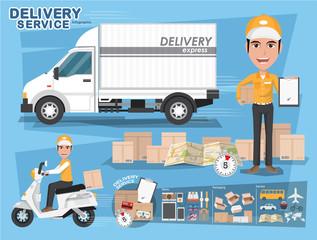 Delivery Concept. Fast delivery van. Delivery man. vector illustration eps10