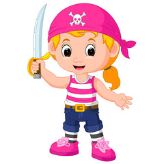 kids girl pirate cartoon
