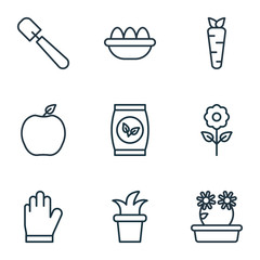 Set Of 9 Plant Icons. Includes Bush Pot, Grains, Floweret And Other Symbols. Beautiful Design Elements.