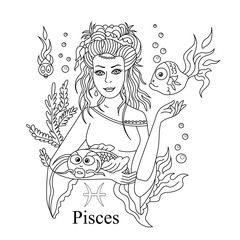 Pisces zodiac sign as a beautiful girl coloring page. Vector illustration isolated.