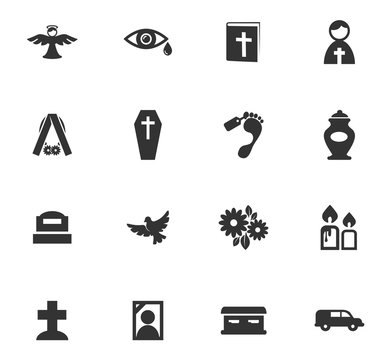 Funeral service icons set