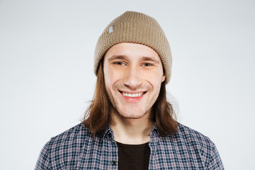Close up portrait of Smiling hipster