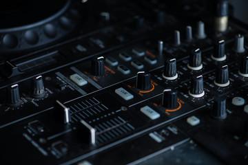 DJ booth at a nightclub
